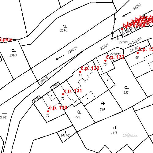 Katastrální mapa Stavební objekt Deštná 132, Deštná