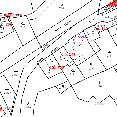 Katastrální mapa Stavební objekt Deštná 131, Deštná