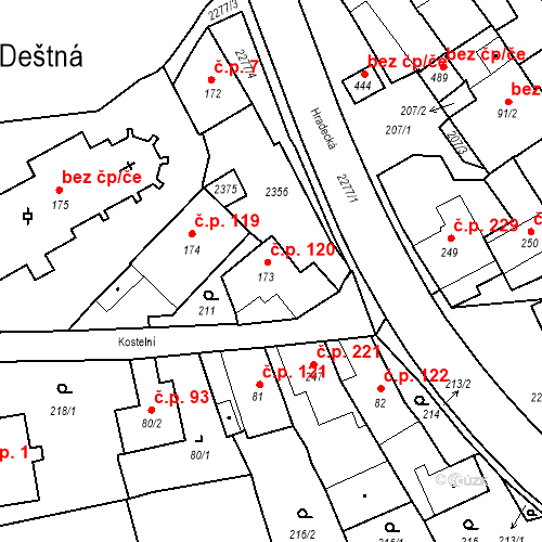 Katastrální mapa Stavební objekt Deštná 120, Deštná