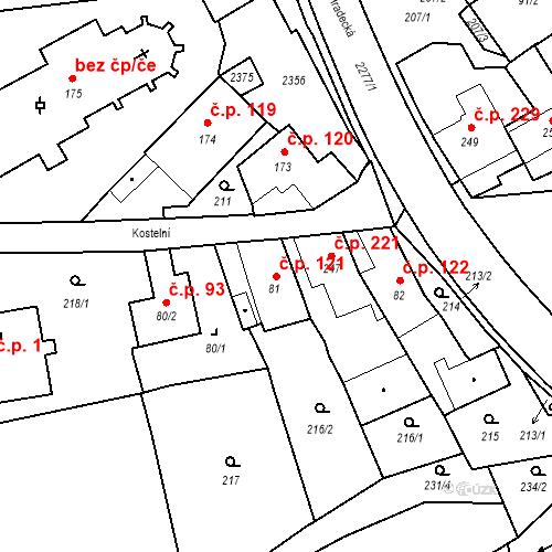Katastrální mapa Stavební objekt Deštná 121, Deštná