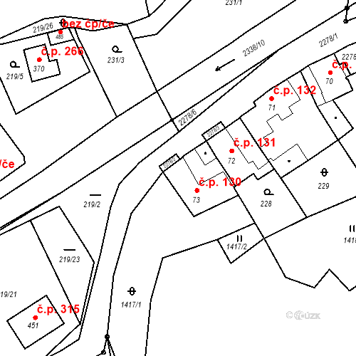 Katastrální mapa Stavební objekt Deštná 130, Deštná
