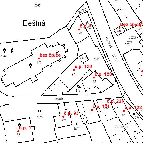 Katastrální mapa Stavební objekt Deštná 119, Deštná