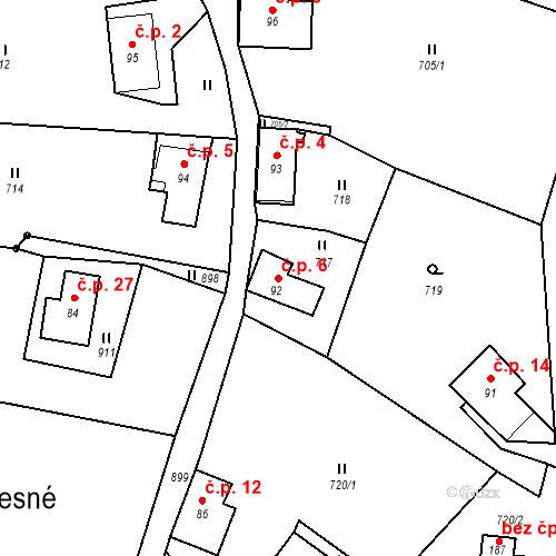 Katastrální mapa Stavební objekt Lesné 6, Jiřetín pod Jedlovou