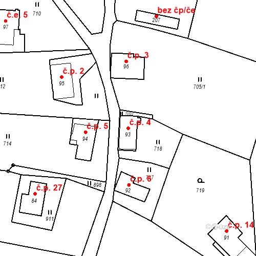 Katastrální mapa Stavební objekt Lesné 4, Jiřetín pod Jedlovou