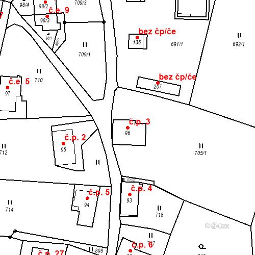Katastrální mapa Stavební objekt Lesné 3, Jiřetín pod Jedlovou