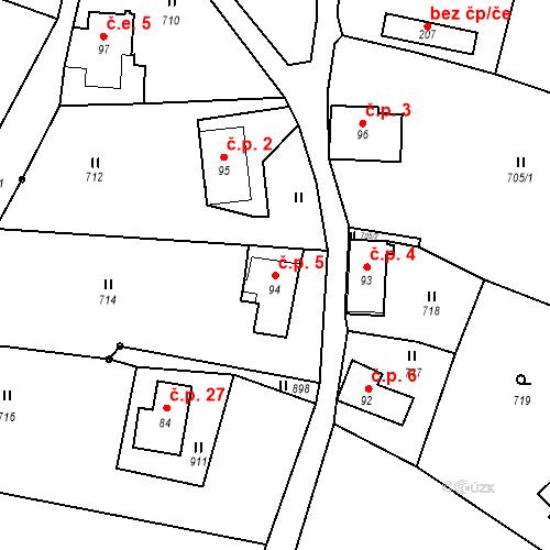 Katastrální mapa Stavební objekt Lesné 5, Jiřetín pod Jedlovou