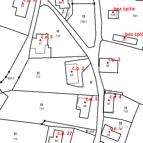 Katastrální mapa Stavební objekt Lesné 2, Jiřetín pod Jedlovou