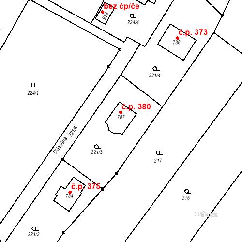 Katastrální mapa Stavební objekt Ondřejov 380, Ondřejov