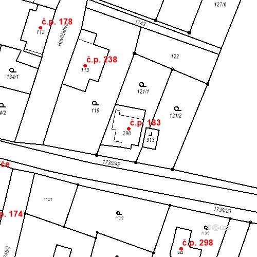 Katastrální mapa Stavební objekt Jiřetín pod Jedlovou 183, Jiřetín pod Jedlovou