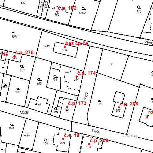 Katastrální mapa Stavební objekt Jiřetín pod Jedlovou 174, Jiřetín pod Jedlovou