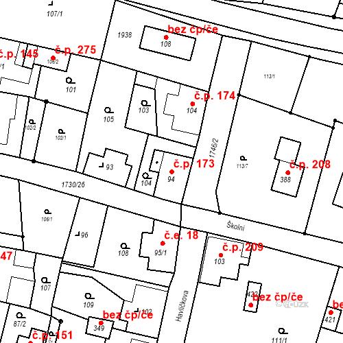 Katastrální mapa Stavební objekt Jiřetín pod Jedlovou 173, Jiřetín pod Jedlovou