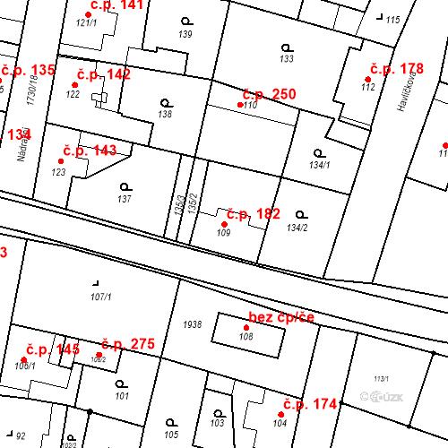 Katastrální mapa Stavební objekt Jiřetín pod Jedlovou 182, Jiřetín pod Jedlovou