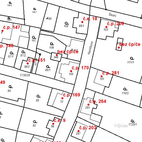 Katastrální mapa Stavební objekt Jiřetín pod Jedlovou 170, Jiřetín pod Jedlovou