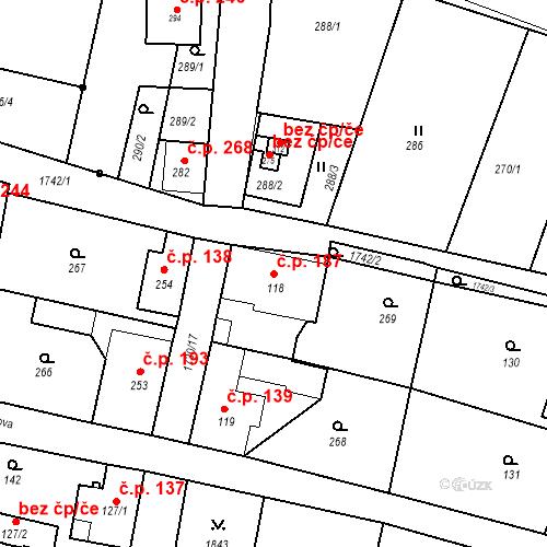 Katastrální mapa Stavební objekt Jiřetín pod Jedlovou 187, Jiřetín pod Jedlovou