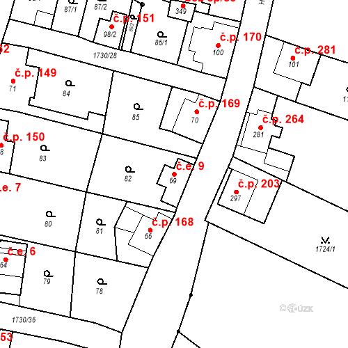 Katastrální mapa Stavební objekt Jiřetín pod Jedlovou 9, Jiřetín pod Jedlovou