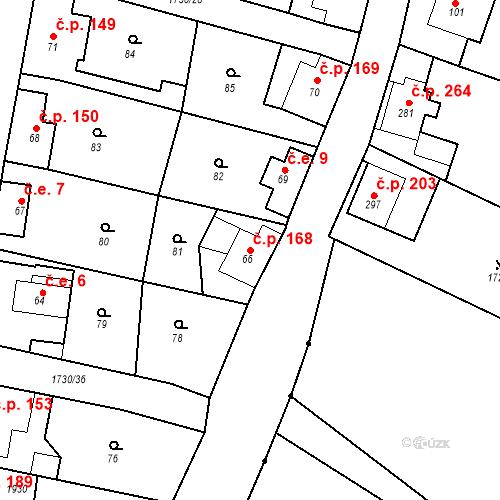 Katastrální mapa Stavební objekt Jiřetín pod Jedlovou 168, Jiřetín pod Jedlovou