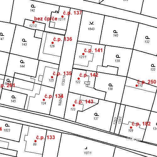 Katastrální mapa Stavební objekt Jiřetín pod Jedlovou 142, Jiřetín pod Jedlovou