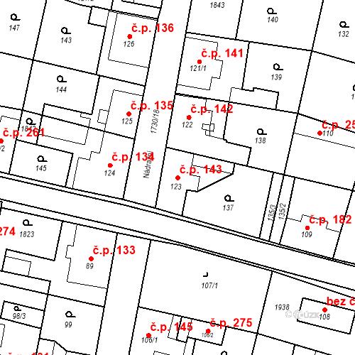 Katastrální mapa Stavební objekt Jiřetín pod Jedlovou 143, Jiřetín pod Jedlovou