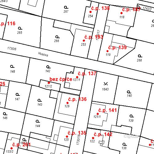Katastrální mapa Stavební objekt Jiřetín pod Jedlovou 137, Jiřetín pod Jedlovou