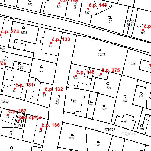 Katastrální mapa Stavební objekt Jiřetín pod Jedlovou 145, Jiřetín pod Jedlovou