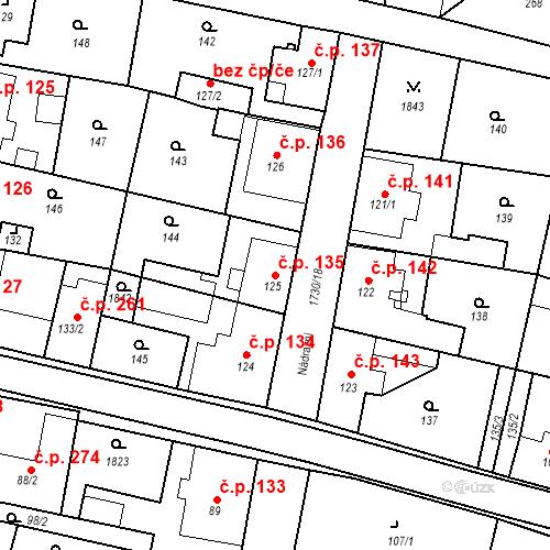 Katastrální mapa Stavební objekt Jiřetín pod Jedlovou 135, Jiřetín pod Jedlovou