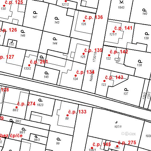Katastrální mapa Stavební objekt Jiřetín pod Jedlovou 134, Jiřetín pod Jedlovou