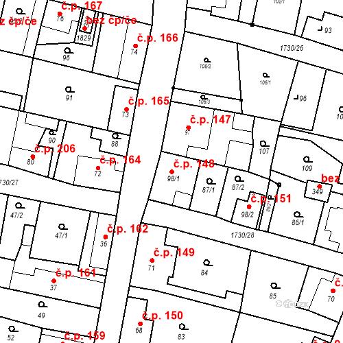 Katastrální mapa Stavební objekt Jiřetín pod Jedlovou 148, Jiřetín pod Jedlovou