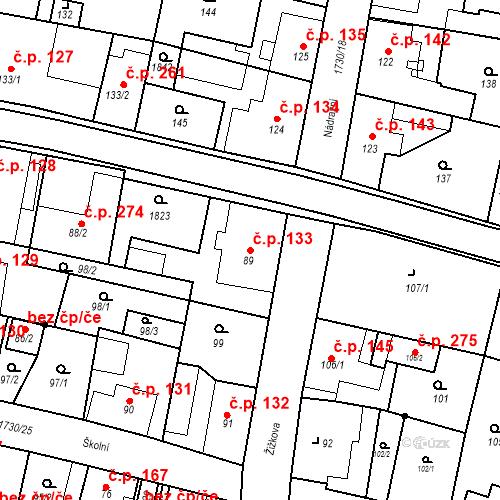 Katastrální mapa Stavební objekt Jiřetín pod Jedlovou 133, Jiřetín pod Jedlovou