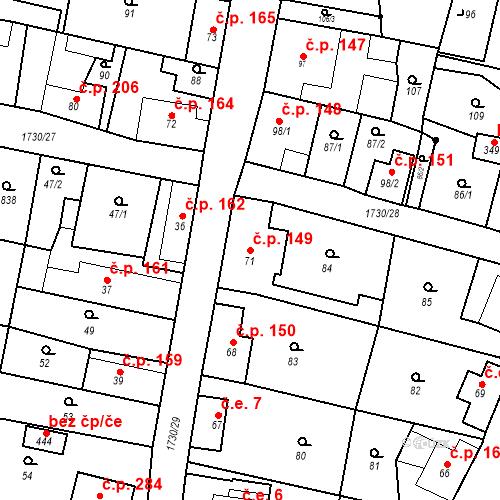 Katastrální mapa Stavební objekt Jiřetín pod Jedlovou 149, Jiřetín pod Jedlovou