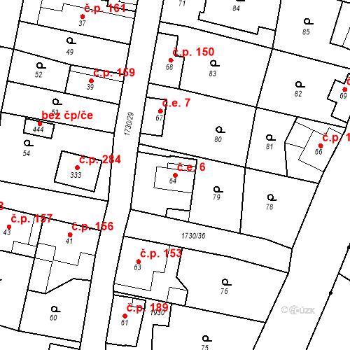 Katastrální mapa Stavební objekt Jiřetín pod Jedlovou 6, Jiřetín pod Jedlovou