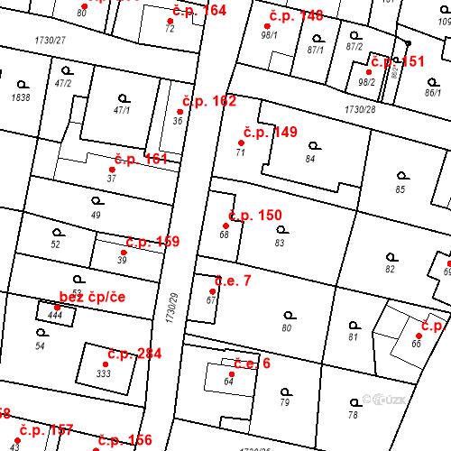 Katastrální mapa Stavební objekt Jiřetín pod Jedlovou 150, Jiřetín pod Jedlovou