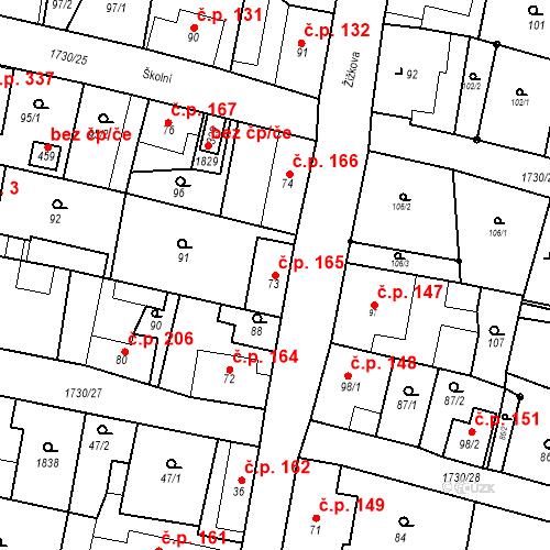 Katastrální mapa Stavební objekt Jiřetín pod Jedlovou 165, Jiřetín pod Jedlovou