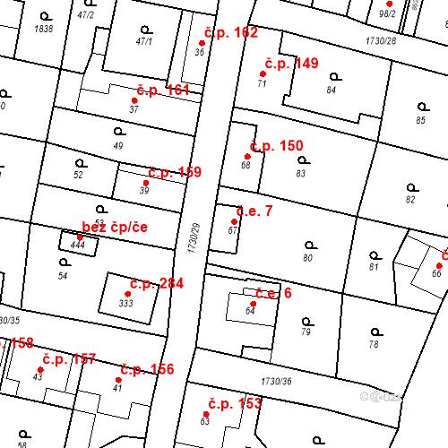 Katastrální mapa Stavební objekt Jiřetín pod Jedlovou 7, Jiřetín pod Jedlovou