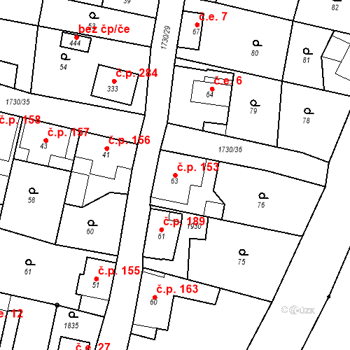 Katastrální mapa Stavební objekt Jiřetín pod Jedlovou 153, Jiřetín pod Jedlovou