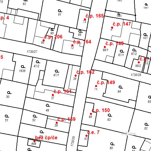 Katastrální mapa Stavební objekt Jiřetín pod Jedlovou 162, Jiřetín pod Jedlovou