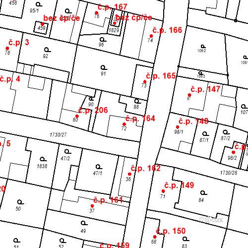 Katastrální mapa Stavební objekt Jiřetín pod Jedlovou 164, Jiřetín pod Jedlovou