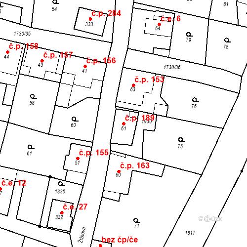 Katastrální mapa Stavební objekt Jiřetín pod Jedlovou 189, Jiřetín pod Jedlovou