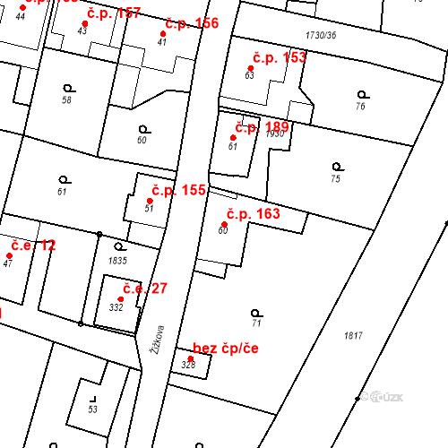 Katastrální mapa Stavební objekt Jiřetín pod Jedlovou 163, Jiřetín pod Jedlovou