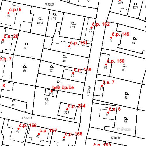 Katastrální mapa Stavební objekt Jiřetín pod Jedlovou 159, Jiřetín pod Jedlovou