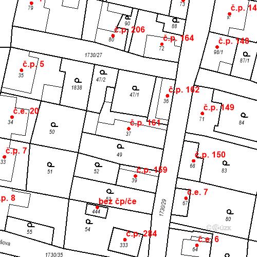 Katastrální mapa Stavební objekt Jiřetín pod Jedlovou 161, Jiřetín pod Jedlovou