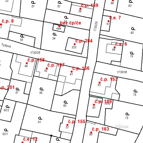Katastrální mapa Stavební objekt Jiřetín pod Jedlovou 156, Jiřetín pod Jedlovou