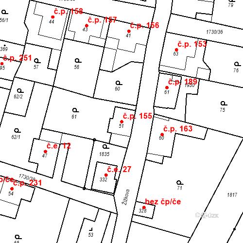 Katastrální mapa Stavební objekt Jiřetín pod Jedlovou 155, Jiřetín pod Jedlovou