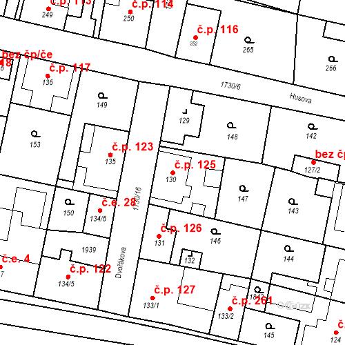 Katastrální mapa Stavební objekt Jiřetín pod Jedlovou 125, Jiřetín pod Jedlovou
