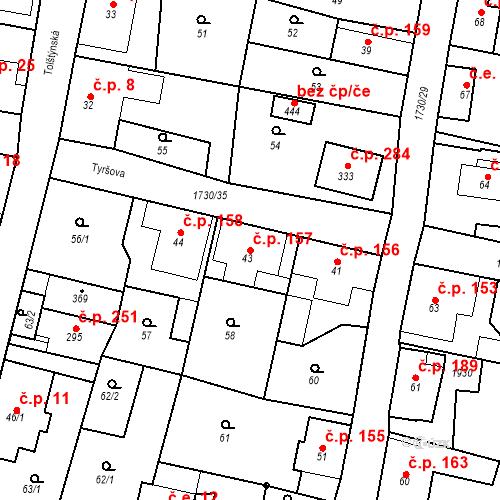 Katastrální mapa Stavební objekt Jiřetín pod Jedlovou 157, Jiřetín pod Jedlovou