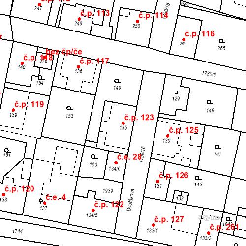 Katastrální mapa Stavební objekt Jiřetín pod Jedlovou 123, Jiřetín pod Jedlovou