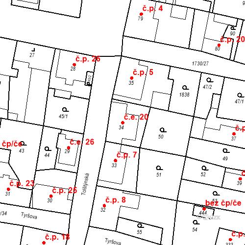 Katastrální mapa Stavební objekt Jiřetín pod Jedlovou 20, Jiřetín pod Jedlovou