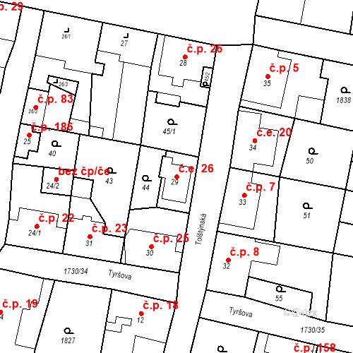 Katastrální mapa Stavební objekt Jiřetín pod Jedlovou 26, Jiřetín pod Jedlovou
