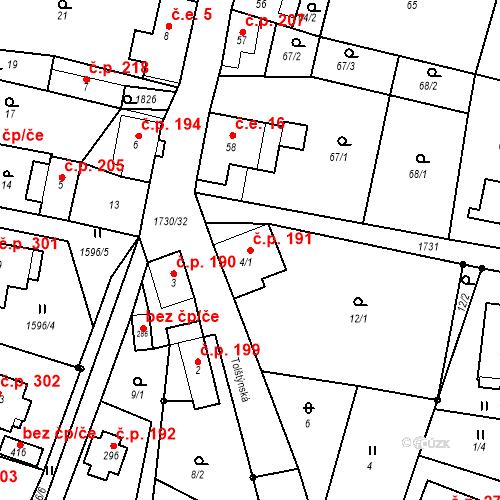 Katastrální mapa Stavební objekt Jiřetín pod Jedlovou 191, Jiřetín pod Jedlovou