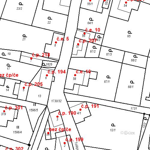 Katastrální mapa Stavební objekt Jiřetín pod Jedlovou 16, Jiřetín pod Jedlovou