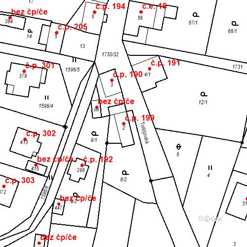 Katastrální mapa Stavební objekt Jiřetín pod Jedlovou 199, Jiřetín pod Jedlovou